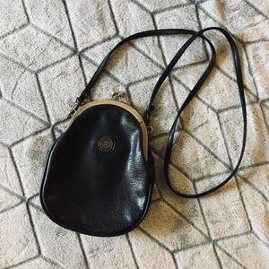 Vintage Capezio Black Kisslock Crossbody Purse